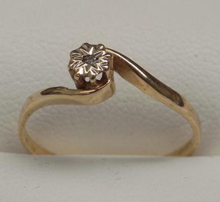 9ct gold & diamond solitaire ring, size N
