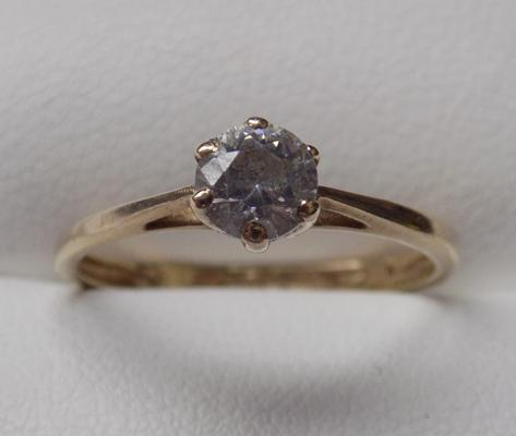 9ct gold clear stone solitaire ring - approx. size M