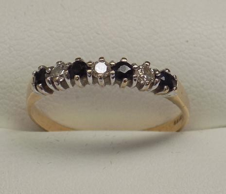 9ct gold sapphire half eternity ring, size O 1/4