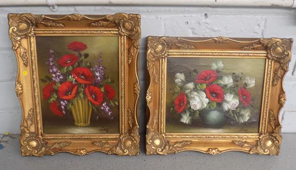 "2x original oil paintings of poppies in detailed guilt style frames - signed - 12"" x 14"" with some damage"