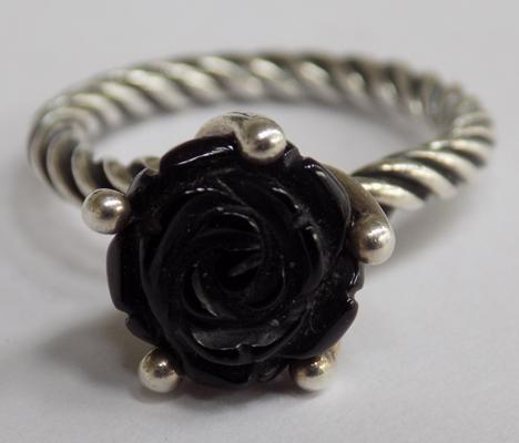 Silver Pandora black rose ring - approx. size L