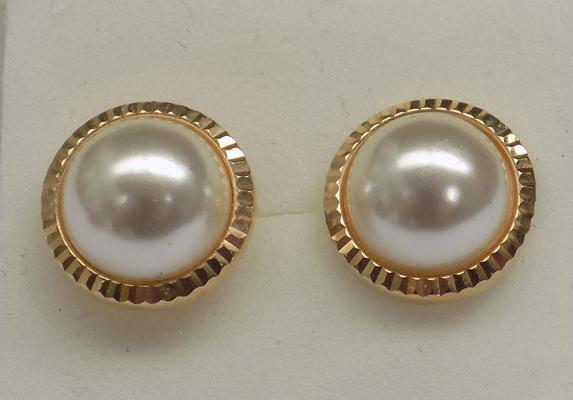 Pair of 9ct gold pearl earrings
