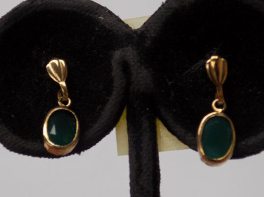 Pair of 9ct gold and emerald earrings
