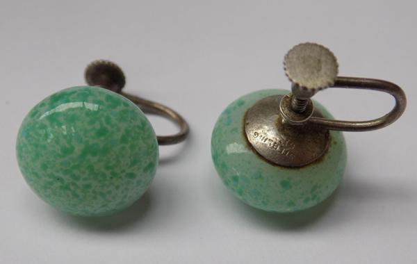 Pair of pre-1950's silver and jade screw back earrings