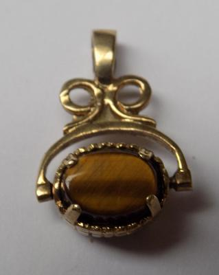 9ct gold and tigers eye gemstone fob
