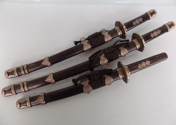 Set of 3 Ornamental Samurai swords