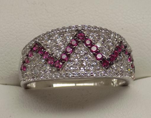 925 silver white & pink topaz ring, size S