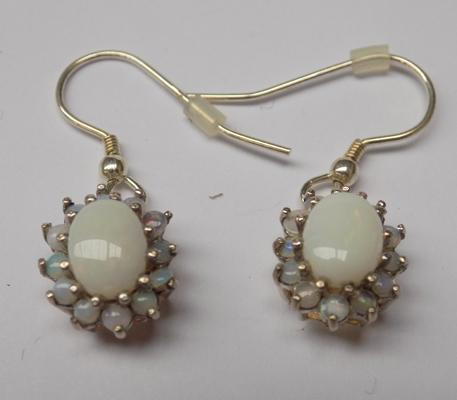 Pair of 925 silver and opal earrings