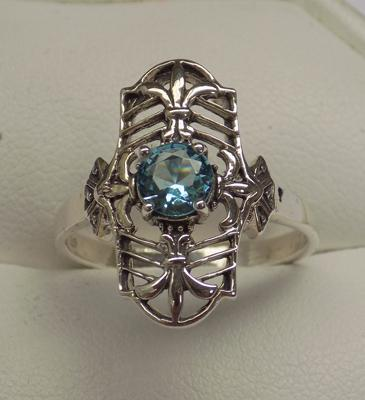 925 silver vintage style blue topaz ring, size R 1/2