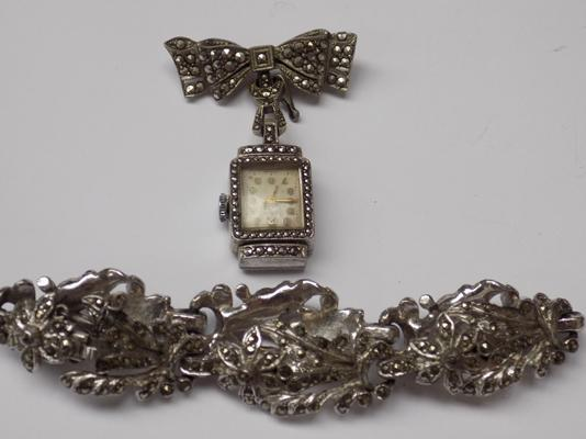 Vintage Vider watch, brooch and matching marcasite stone bracelet - all stones are present