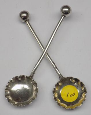 Pair of antique silver salt spoons - Birmingham, circa 1891