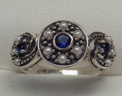 925 silver pearl & sapphire vintage style ring, size L