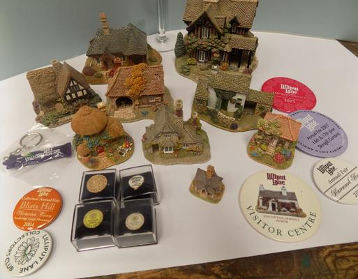 Tray of Lilliput Lane with badges, pins, glass & book