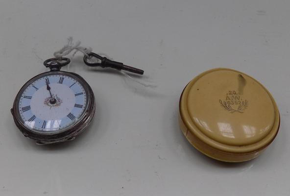 Silver pocket watch with A.W case & key