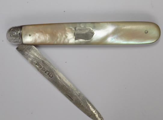 Antique silver & mother of pearl fruit knife - Sheffield circa 1894