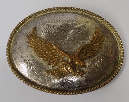 German silver plated & brass eagle belt buckle