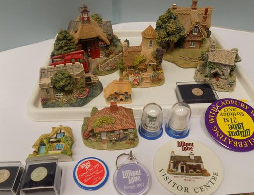Tray of Lilliput Lane with badges, pins & thimbles