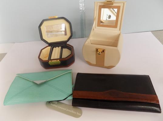 Collection of new leather jewellery, boxes & purses
