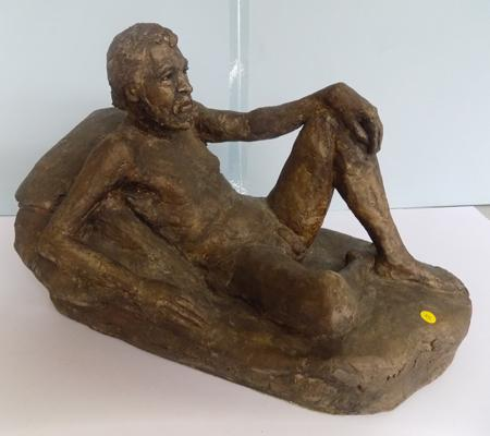 "Large vintage bronze figure - nude man at rest - 10"" long,  8"" high"