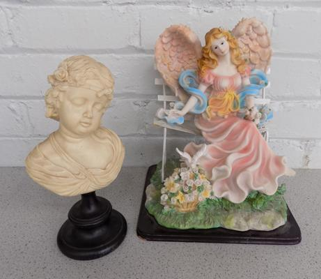 Figure of a fairy on a bench + cherub style bust