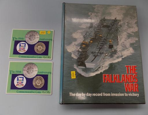 2x Royal mint Falkland coins and Falklands books