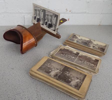 Antique Victorian Saturnscope/Stereoscope with 40 card views + 50 loose views
