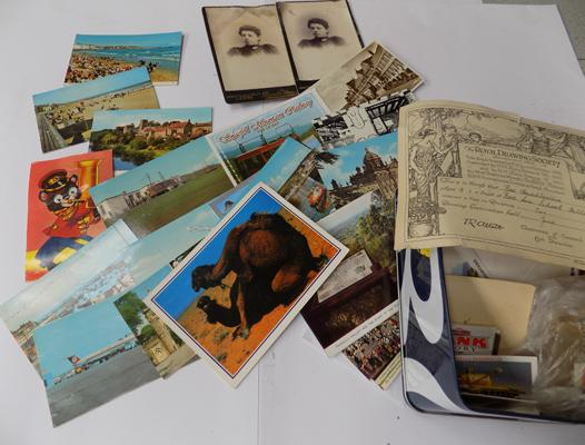 Box of vintage postcards
