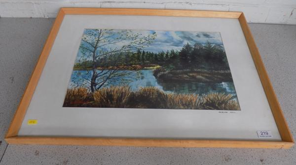 Framed painting of Beacon Fell by L. Birkett