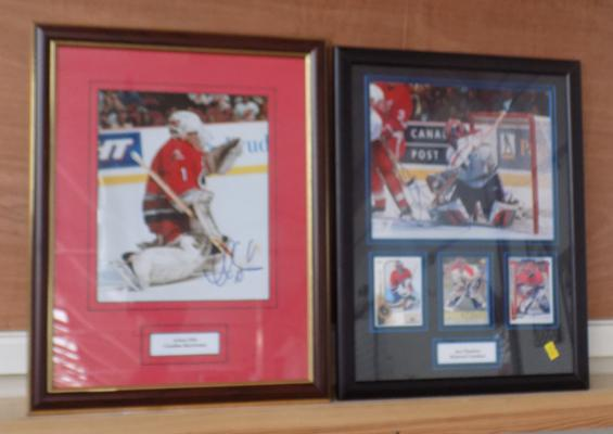 Two framed and signed Ice Hockey pictures with COA - Artuis Libe & Jose Theodore