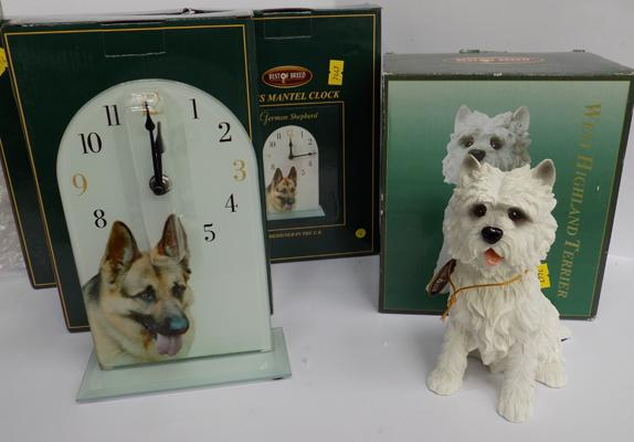 Three glass dog themed mantle clocks + one terrier ornament - in boxes