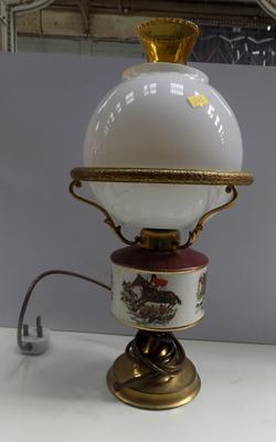 Hunting scene oil lamp-electric