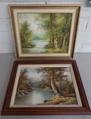 "2x original oil paintings of woodland - signed by Gafieri & Inness - 13"" x 15"""