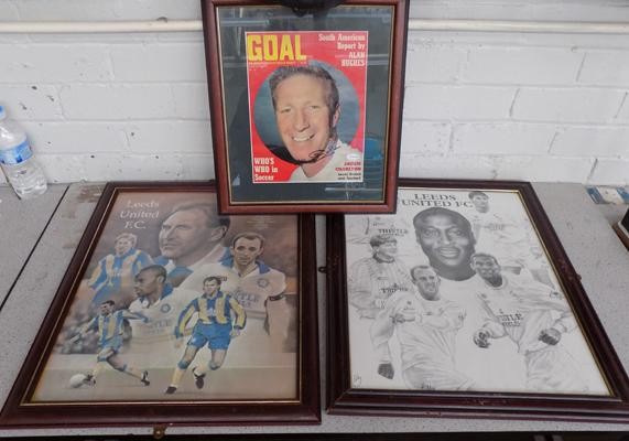Collection of three framed Leeds United pictures, one signed by Jackie Charlton
