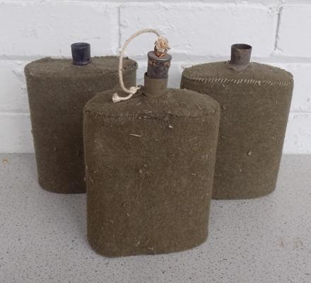 Three WWII vintage army water cannisters