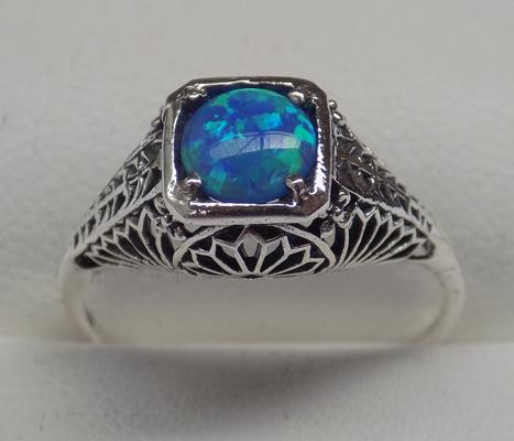 925 silver blue/green opal vintage style ring