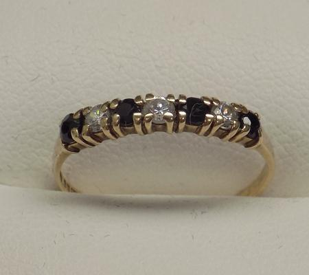 9ct gold sapphire half eternity ring, size N