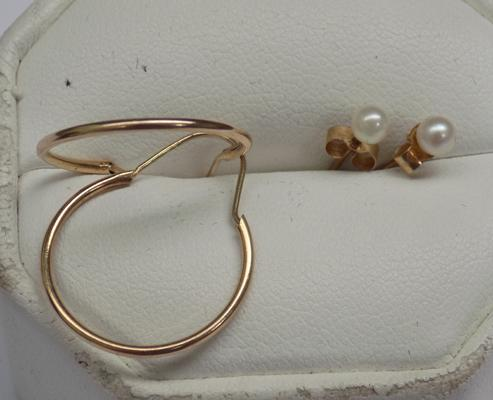 Two pairs of gold earrings, 3/4 hoop & a pair of pearl earrings