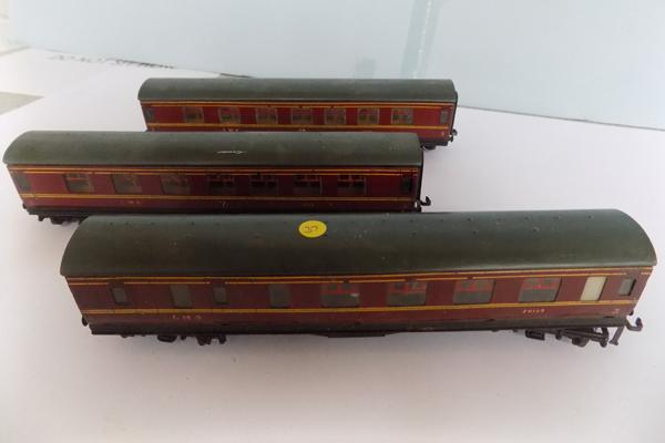 Three tinplate Hornby Duplo, 00 guage, carriages - LMS