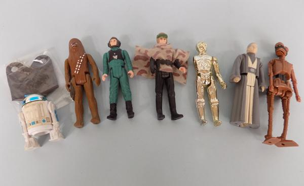 1980's Star Wars figures - three of first & four of last 17 Kenner