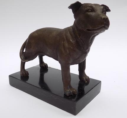Bronze Staffordshire bull dog on marble base 13cm
