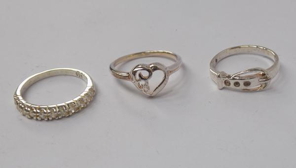 Three 925 silver ladies/child's rings