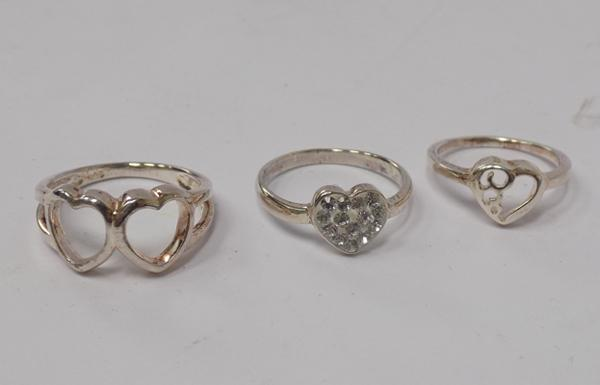 Three 925 silver heart rings