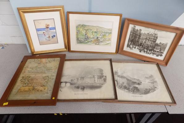 Selection of pictures incl. vintage landscape and water colour x6