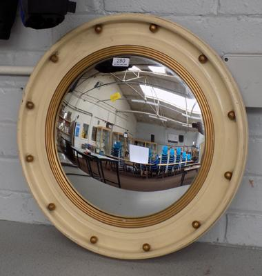 Vintage circular, concave porthole style mirror