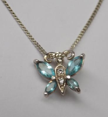 925 silver butterfly necklace with blue stones approx. 18""