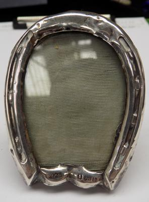 Antique silver horse shoe photo frame - Birmingham, circa 1901, some damage
