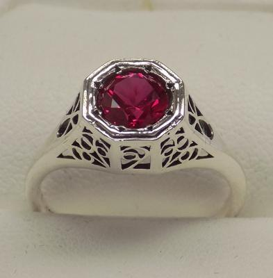 925 silver rubellite vintage style ring, size N 1/2