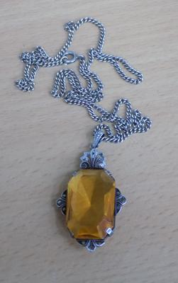 Vintage 935 silver Art Deco necklace with citrine stone