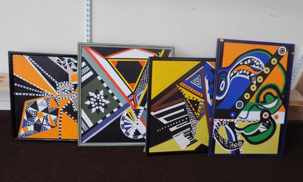 4x African abstract artworks by local artist