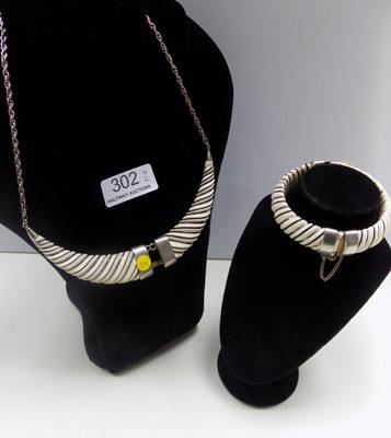 Silver bangle & necklace